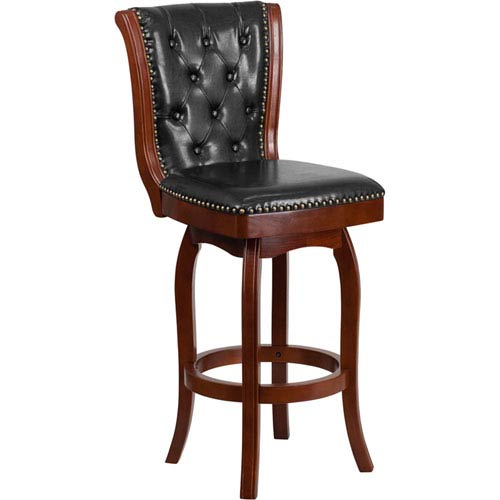 Parkside 30 In High Cherry Wood Barstool With Black Leather Swivel Seat