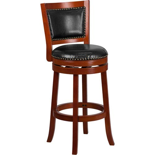 30 In. High Light Cherry Wood Barstool with Black Leather Swivel Seat