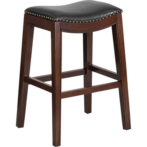 30 In. High Backless Cappuccino Wood Barstool with Black Leather Seat