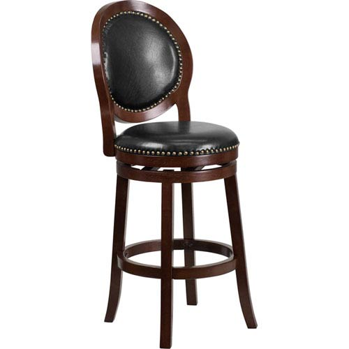 30 In. High Cappuccino Wood Barstool with Black Leather Swivel Seat