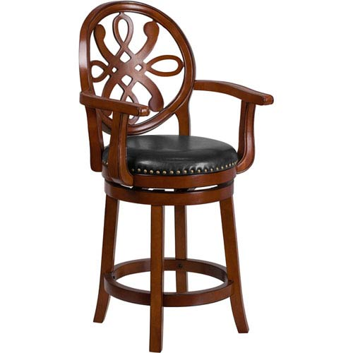 26 In. High Brandy Wood Counter Height Stool with Arms and Black Leather Swivel Seat