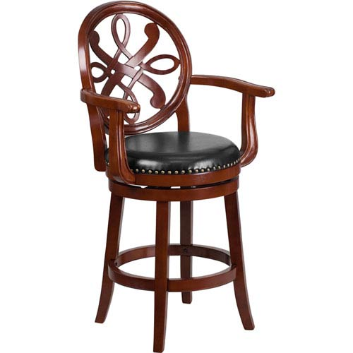 26 In. High Cherry Wood Counter Height Stool with Arms and Black Leather Swivel Seat