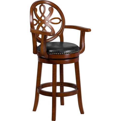 30 In. High Brandy Wood Barstool with Arms and Black Leather Swivel Seat