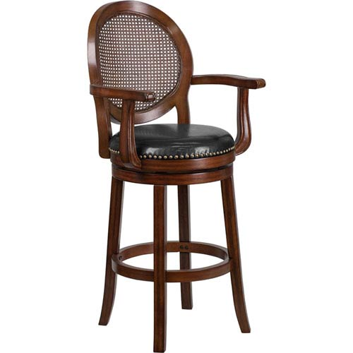 30 In. High Expresso Wood Barstool with Arms and Black Leather Swivel Seat