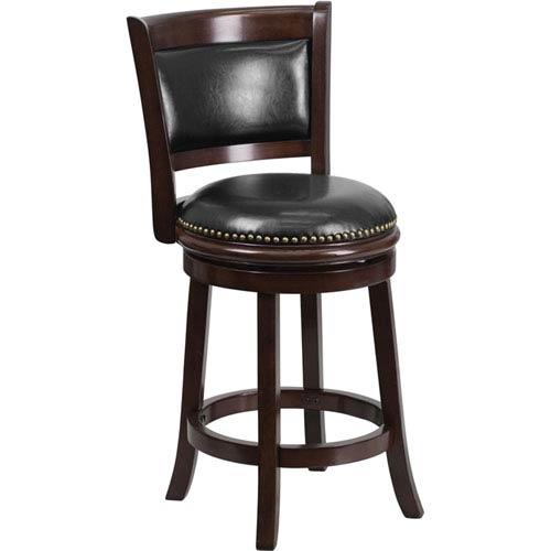 24 In. High Cappuccino Wood Counter Height Stool with Black Leather Swivel Seat