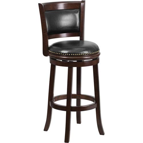 Parkside 29 In. High Cappuccino Wood Barstool with Black Leather Swivel Seat