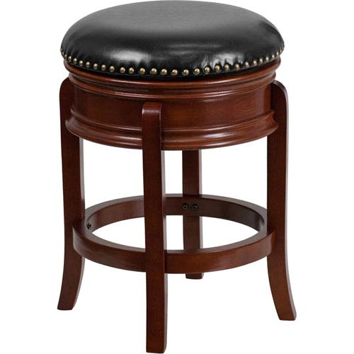 Parkside 24 In. High Backless Light Cherry Wood Counter Height Stool with Black Leather Swivel Seat