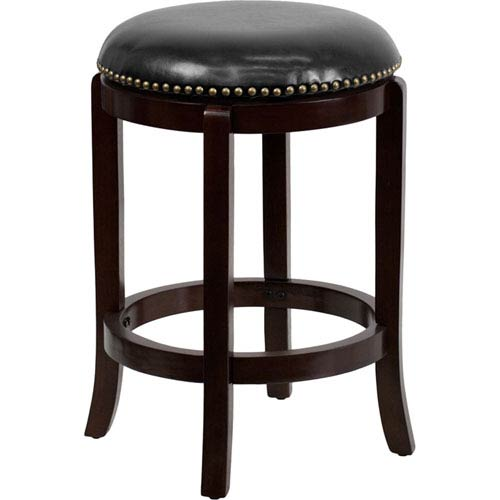Parkside 24 In. High Backless Cappuccino Wood Counter Height Stool with Black Leather Swivel Seat
