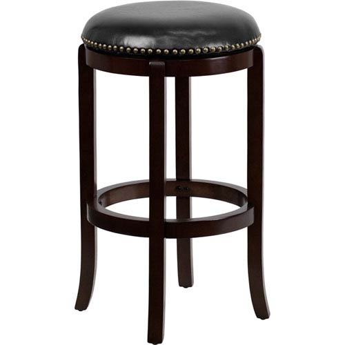 Parkside 29 In. High Backless Cappuccino Wood Barstool with Black Leather Swivel Seat