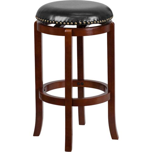 29 In. High Backless Light Cherry Wood Barstool with Black Leather Swivel Seat