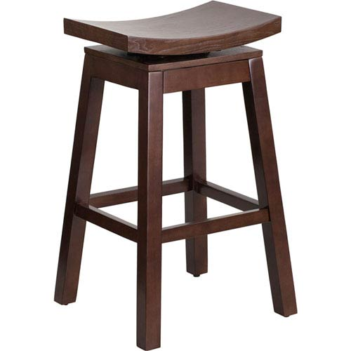 30 In. High Saddle Seat Cappuccino Wood Barstool with Auto Swivel Seat Return