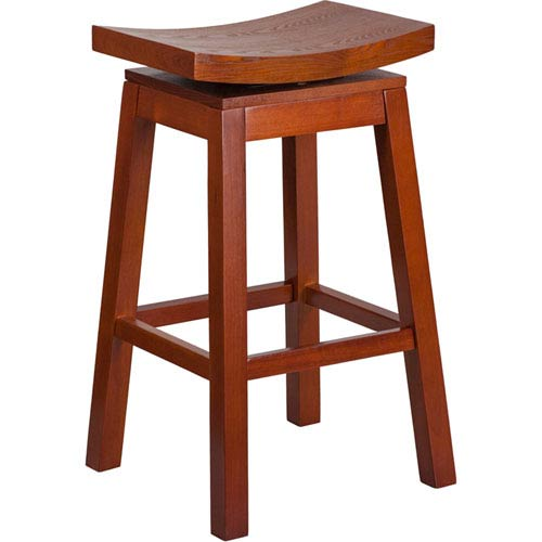 30 In. High Saddle Seat Light Cherry Wood Barstool with Auto Swivel Seat Return