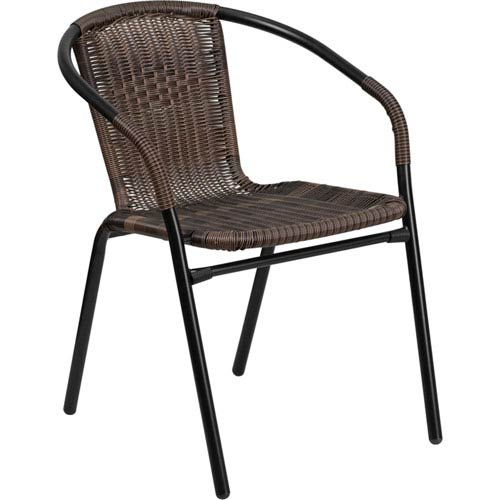 Exceptionnel Dark Brown Rattan Indoor Outdoor Restaurant Stack Chair