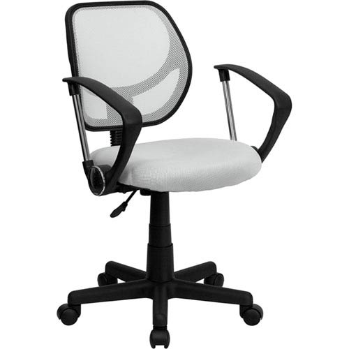 Parkside White Mesh Swivel Task Chair with Arms