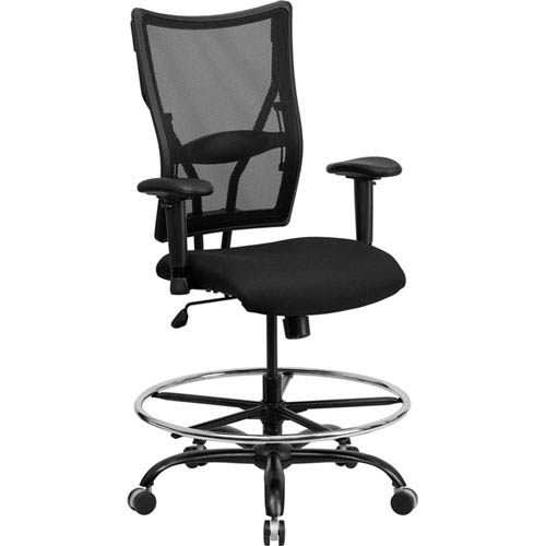 Series 400 lb. Capacity Big and Tall Black Mesh Drafting Chair with Height Adjustable Arms