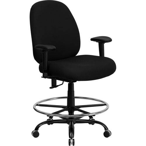 Capacity Big And Tall Black Fabric Drafting Chair With Extra WIDE