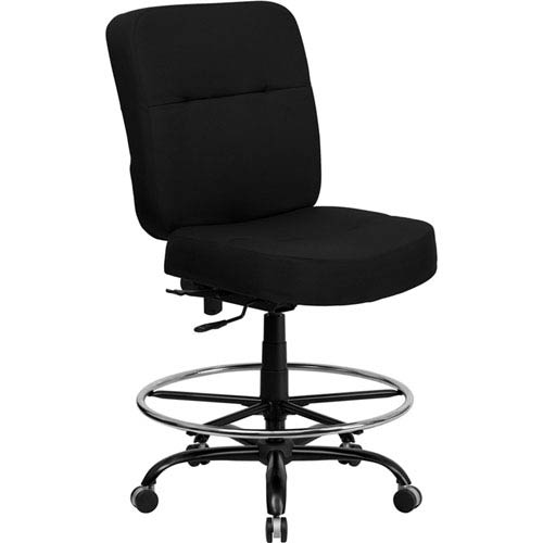 Series 400 lb. Capacity Big and Tall Black Fabric Drafting Chair with Extra WIDE Seat