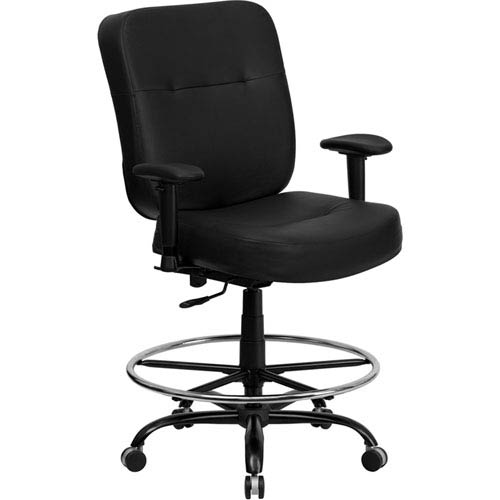 Series 400 lb. Capacity Big and Tall Black Leather Drafting Chair with Extra WIDE Seat and Height Adjustable Arms