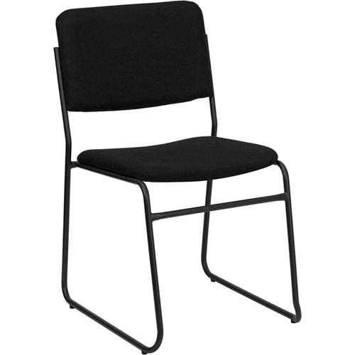 Series 1000 lb. Capacity High Density Black Fabric Stacking Chair with Sled Base
