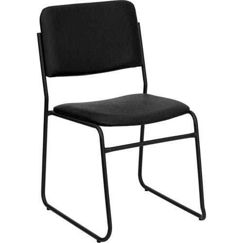 Series 1000 lb. Capacity High Density Black Vinyl Stacking Chair with Sled Base