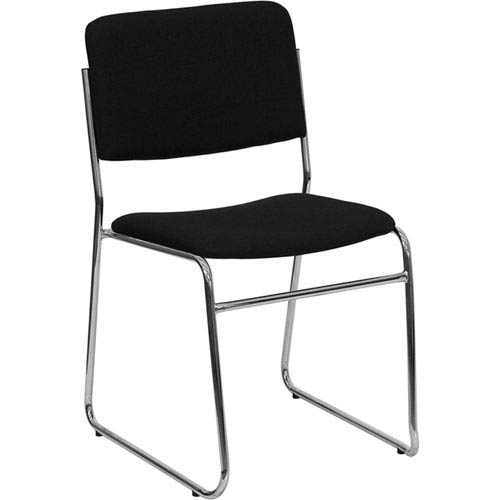 Series 1000 lb. Capacity Black Fabric High Density Stacking Chair with Chrome Sled Base