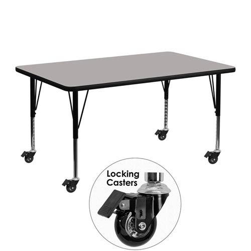 Parkside Mobile 24 In. W x 48 In. L Rectangular Activity Table with 1.25 In. Thick High Pressure Grey Laminate Top and Height