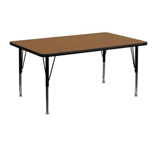 24 In. W x 48 In. L Rectangular Activity Table with Oak Thermal Fused Laminate Top and Height Adjustable Preschool Legs