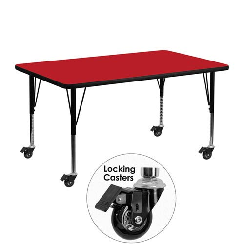 Parkside Mobile 24 In. W x 48 In. L Rectangular Activity Table with 1.25 In. Thick High Pressure Red Laminate Top and Height