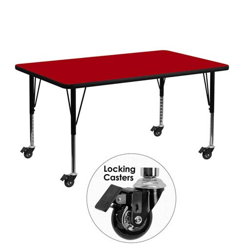 Parkside Mobile 24 In. W x 48 In. L Rectangular Activity Table with Red Thermal Fused Laminate Top and Height Adjustable