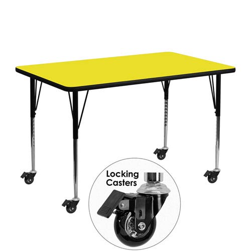Parkside Mobile 24 In. W x 48 In. L Rectangular Activity Table with 1.25 In. Thick High Pressure Yellow Laminate Top and
