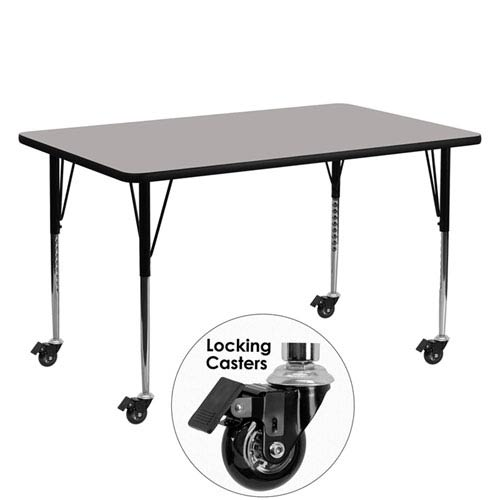 Mobile 24 In. W x 60 In. L Rectangular Activity Table with 1.25 In. Thick High Pressure Grey Laminate Top and Standard Height