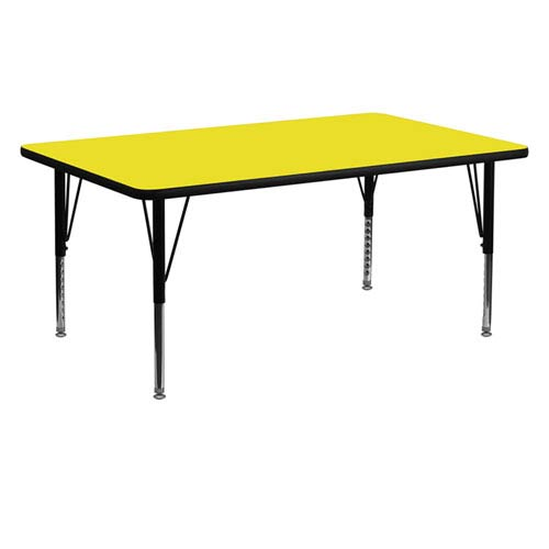 Parkside 24 In. W x 60 In. L Rectangular Activity Table with 1.25 In. Thick High Pressure Yellow Laminate Top and Height