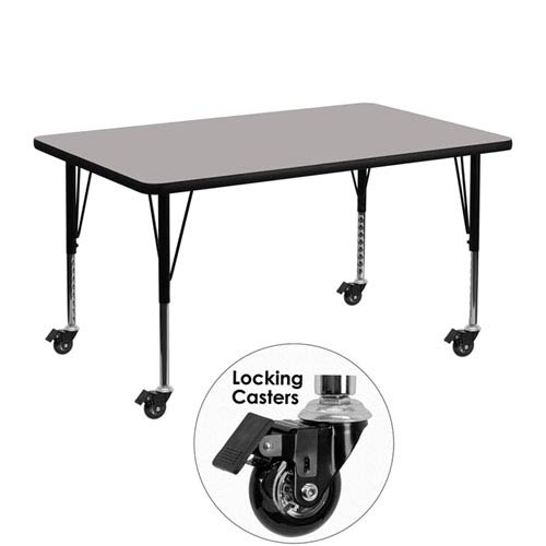 Parkside Mobile 30 In. W x 48 In. L Rectangular Activity Table with 1.25 In. Thick High Pressure Grey Laminate Top and Height