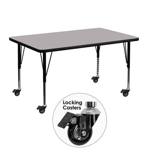Parkside Mobile 30 In. W x 48 In. L Rectangular Activity Table with Grey Thermal Fused Laminate Top and Height Adjustable