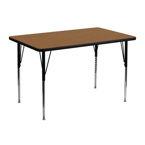30 In. W x 48 In. L Rectangular Activity Table with Oak Thermal Fused Laminate Top and Standard Height Adjustable Legs