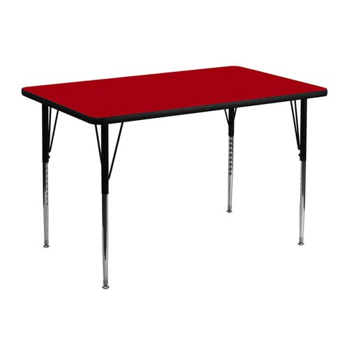 30 In. W x 48 In. L Rectangular Activity Table with Red Thermal Fused Laminate Top and Standard Height Adjustable Legs