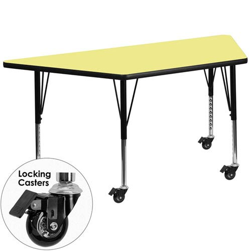 Parkside Mobile 30 In. W x 60 In. L Trapezoid Activity Table with Yellow Thermal Fused Laminate Top and Height Adjustable