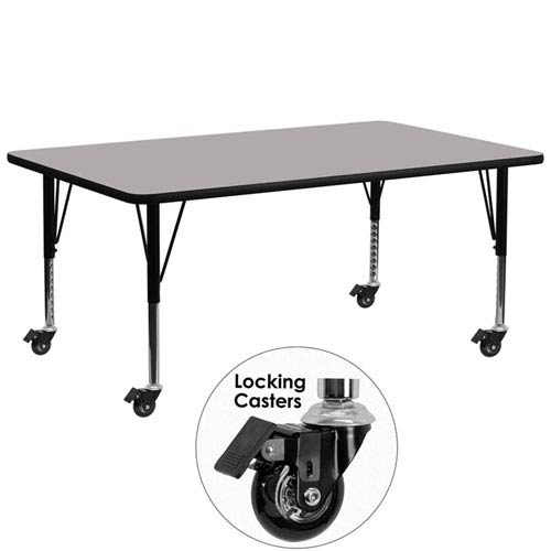 Parkside 30 In. W x 72 In. L Rectangular Activity Table with 1.25 In. Thick High Pressure Grey Laminate Top and Height