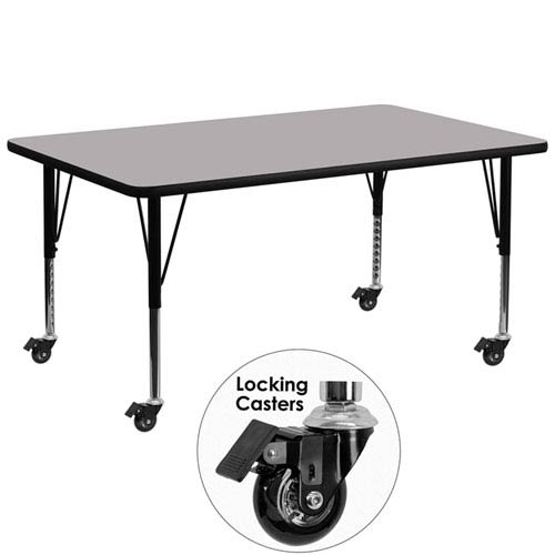 Parkside Mobile 30 In. W x 72 In. L Rectangular Activity Table with Grey Thermal Fused Laminate Top and Height Adjustable
