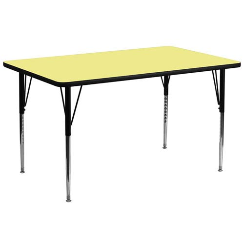 Parkside 30 In. W x 72 In. L Rectangular Activity Table with Yellow Thermal Fused Laminate Top and Standard Height Adjustable