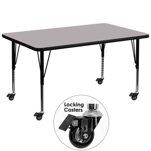 Mobile 36 In. W x 72 In. L Rectangular Activity Table with Grey Thermal Fused Laminate Top and Height Adjustable Preschool