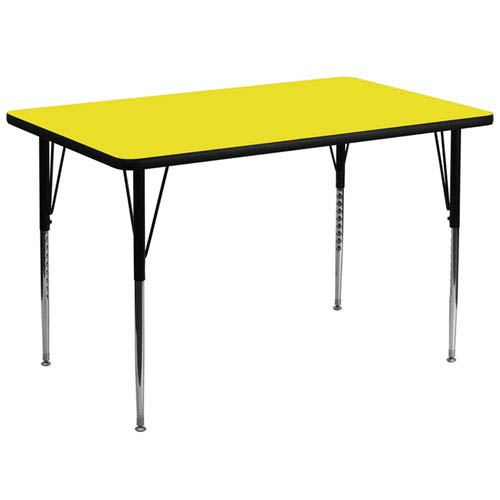 Parkside 36 In. W x 72 In. L Rectangular Activity Table with 1.25 In. Thick High Pressure Yellow Laminate Top and Standard