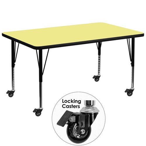 Parkside Mobile 36 In. W x 72 In. L Rectangular Activity Table with Yellow Thermal Fused Laminate Top and Height Adjustable