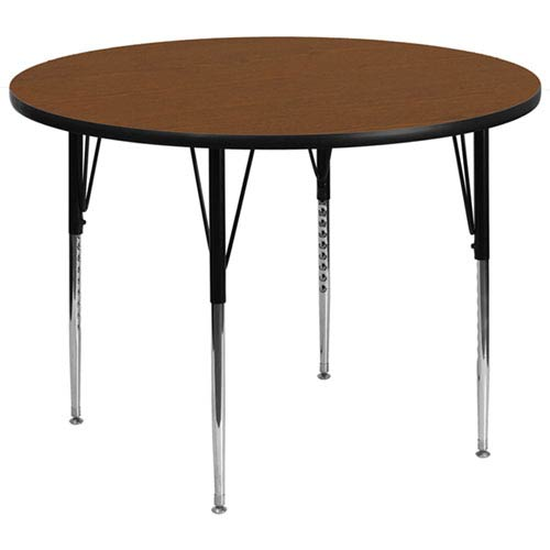 42 In. Round Activity Table with 1.25 In. Thick High Pressure Oak Laminate Top and Standard Height Adjustable Legs