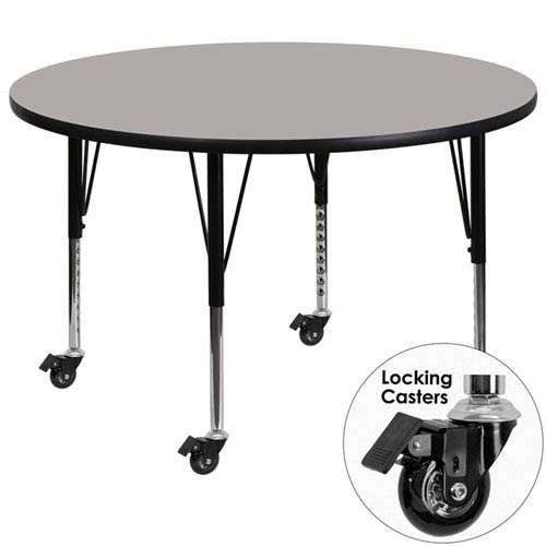 Mobile 48 In. Round Activity Table with 1.25 In. Thick High Pressure Grey Laminate Top and Height Adjustable Preschool Legs