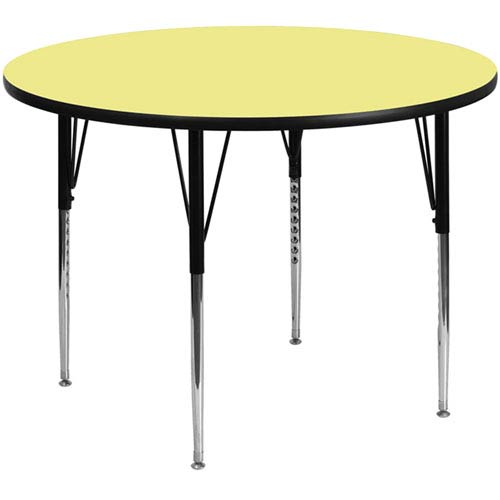 Parkside 48 In. Round Activity Table with Yellow Thermal Fused Laminate Top and Standard Height Adjustable Legs