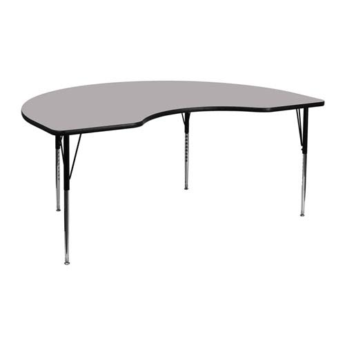 Parkside 48 In. W x 72 In. L Kidney Shaped Activity Table with Grey Thermal Fused Laminate Top and Standard Height Adjustable