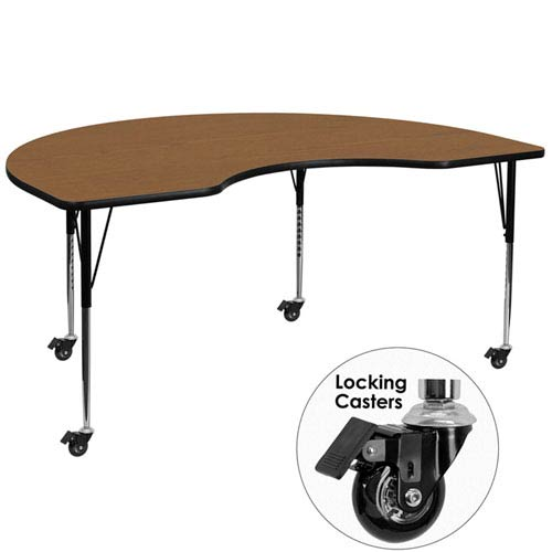 Parkside Mobile 48 In. W x 72 In. L Kidney Shaped Activity Table with Oak Thermal Fused Laminate Top and Standard Height