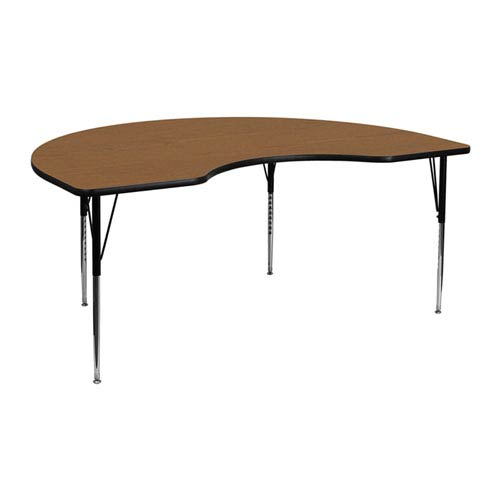 48 In. W x 72 In. L Kidney Shaped Activity Table with Oak Thermal Fused Laminate Top and Standard Height Adjustable Legs