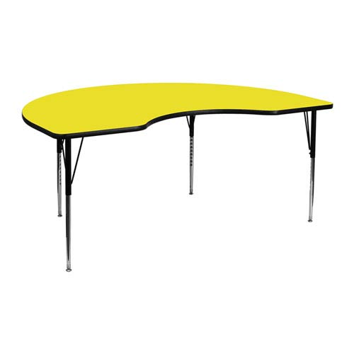 48 In. W x 72 In. L Kidney Shaped Activity Table with 1.25 In. Thick High Pressure Yellow Laminate Top and Standard Height